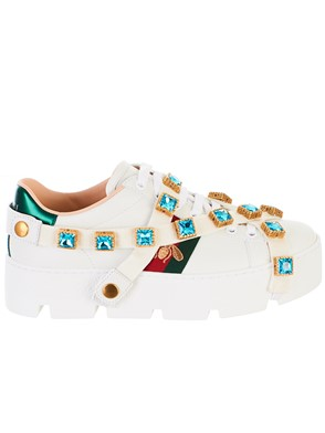 GUCCI - WHITE WEB BEES SNEAKERS