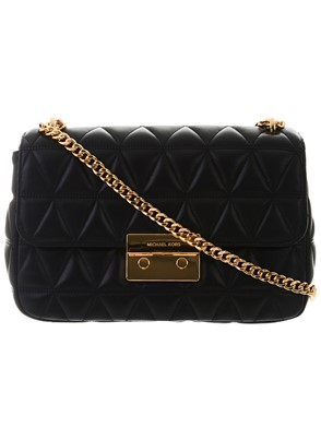 MICHAEL KORS - BLACK AND GOLD SLOAN BAG