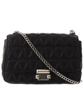 MICHAEL KORS -  BLACK AND SILVER SLOAN BAG