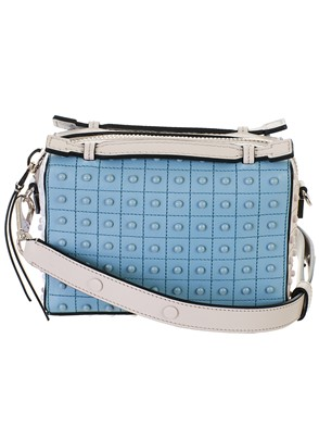 TOD'S - WHITE AND LIGHT BLUE MICRO BOWLING BAG