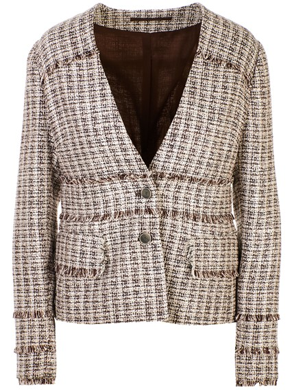 ELEVENTY WHITE AND BROWN CHANEL JACKET