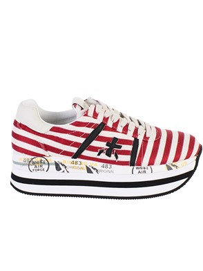 PREMIATA - RED AND WHITE BETH SNEAKERS