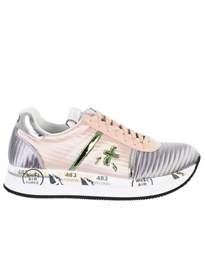 PREMIATA - GREY AND PINK CONNY SNEAKERS