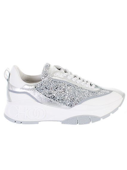 be5425a3fd0 jimmy choo WHITE AND SILVER SNEAKERS available on lungolivigno.com ...