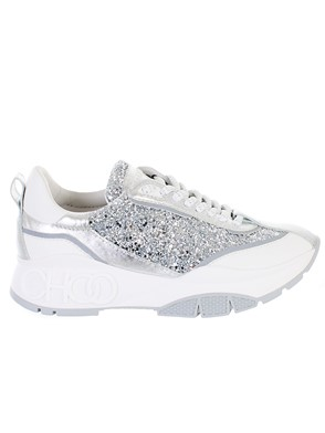 JIMMY CHOO - WHITE AND SILVER SNEAKERS