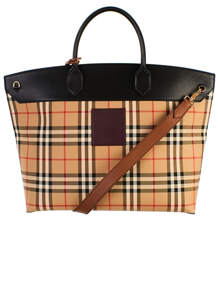 BURBERRY BEIGE SOCIETY CHECK BAG