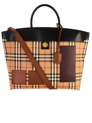 BURBERRY - BEIGE SOCIETY CHECK BAG