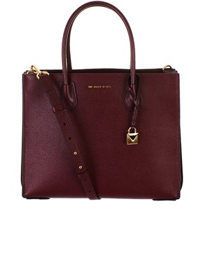 MICHAEL KORS - BURGUNDY MERCER BAG