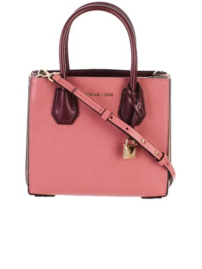 MICHAEL KORS - PINK AND BURGUNDY MERCER BAG