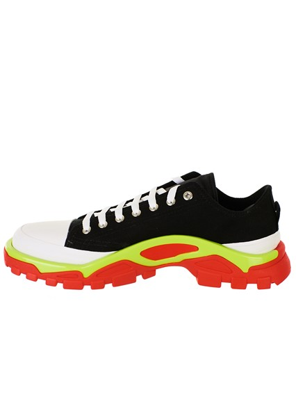 ADIDAS BY RAF SIMONS BLACK AND WHITE DETROIT RUNNER SNEAKERS