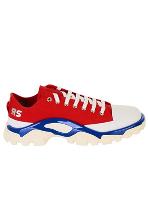 ADIDAS BY RAF SIMONS - RED AND WHITE DETROIT RUNNER SNEAKERS