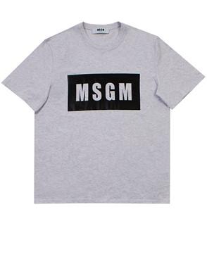 MSGM - T-SHIRT M/C PLACCA LOGO GRIGIO