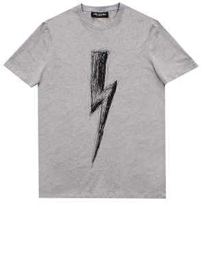 NEIL BARRETT - T SHIRT GREY FRECCIA BOLT