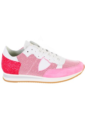 PHILIPPE MODEL - WHITE AND FUCHSIA TROPEZ SNEAKERS