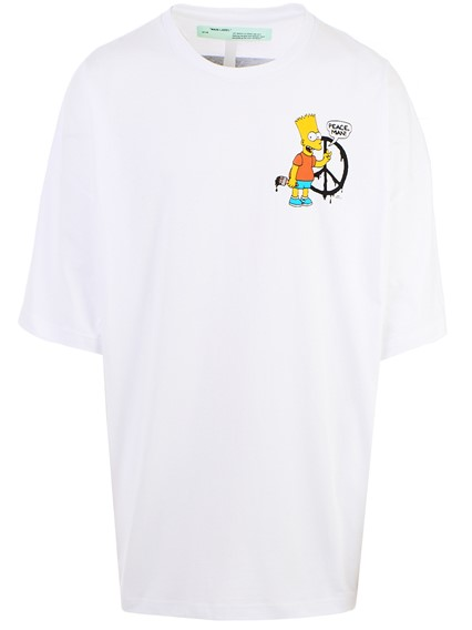 09c3ae4b off white c/o virgil abloh WHITE BART PEACE SIGN T-SHIRT available ...