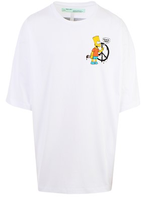 OFF WHITE - WHITE BART PEACE SIGN T-SHIRT