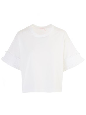 SEE BY CHLOE' - T-SHIRT M/C POWDER BIANCA