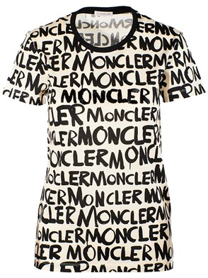 MONCLER - BLACK AND CREAM T-SHIRT