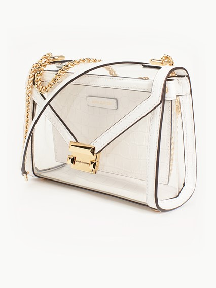 900170ea279f71 michael michael kors WHITE AND SEE-THROUGH WHITNEY BAG available on ...