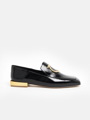 SALVATORE FERRAGAMO - BLACK WOOL LOAFERS