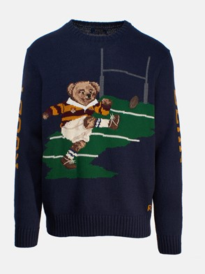 POLO RALPH LAUREN - Cotton and wool sweater\nBear detail on front\n�Bear� writing on sleeve\nRibbed hems