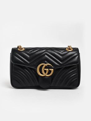 GUCCI - BLACK GG MARMONT BAG