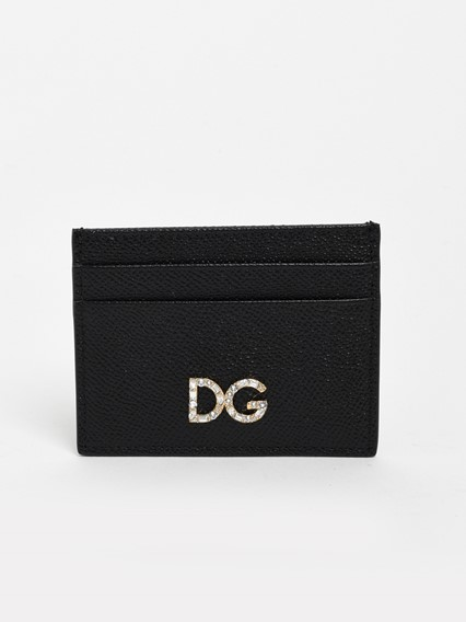 DOLCE & GABBANA BLACK DAUPHINE CARD HOLDER