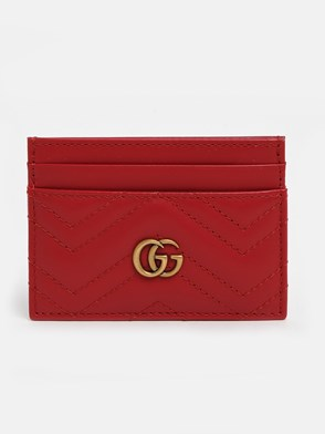 GUCCI - RED GG MARMONT CARD HOLDER