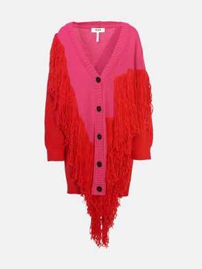 MSGM - RED AND FUCHSIA LONG CARDIGAN