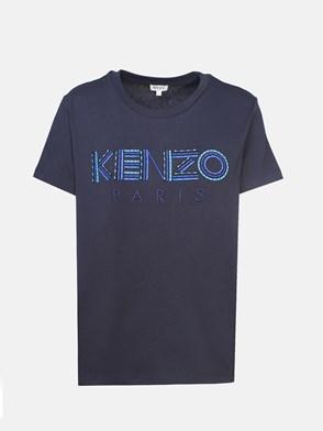 KENZO - T-SHIRT M/C LOGO SCRITTA BLU