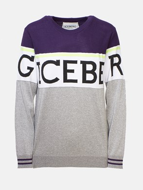 ICEBERG - GREY AND PURPLE SWEATER