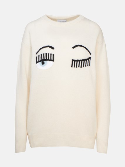 CHIARA FERRAGNI CREAM SWEATER