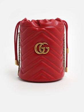 GUCCI - RED GG MARMONT BUCKET BAG