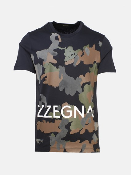 Z ZEGNA CAMOUFLAGE WRITING T-SHIRT