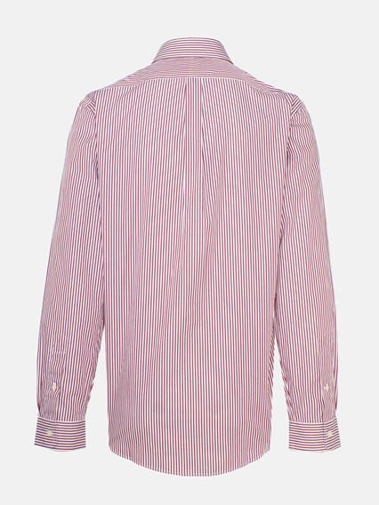 POLO RALPH LAUREN BURGUNDY AND WHITE STRIPED SHIRT
