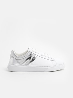 HOGAN - WHITE LOW-TOP LACED SNEAKERS