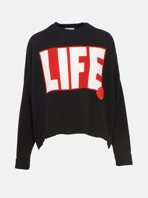 MONCLER - BLACK TRICOT SWEATER
