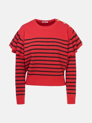REDVALENTINO - RED STRIPED SWEATER