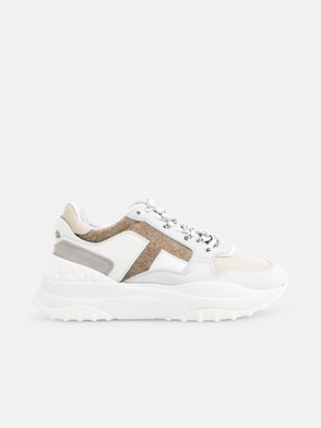 TOD'S - WHITE AND BEIGE SNEAKERS