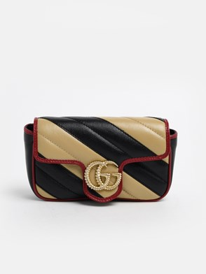 GUCCI - BLACK AND CREAM GG MARMONT WALLET
