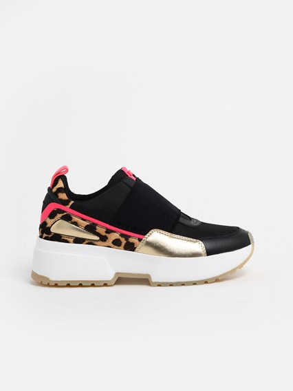 professional skate shoes the best BLACK AND LEOPARD PRINT COSMO SNEAKERS