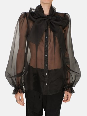DOLCE & GABBANA - BLACK BLOUSE WITH PUFF SLEEVE