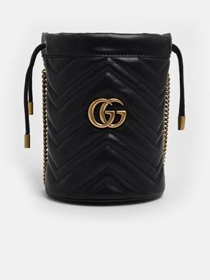 GUCCI - BLACK GG MARMONT BUCKET BAG