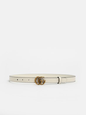 GUCCI - WHITE GG MARMONT BELT