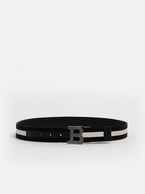 BALLY - BLACK/WHITE BUCKLE BELT