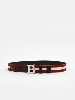 BALLY - RED/WHITE WEB BUCKLE BELT