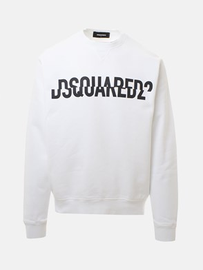 DSQUARED2 - WHITE CREWNECK LOGO SWEATSHIRT