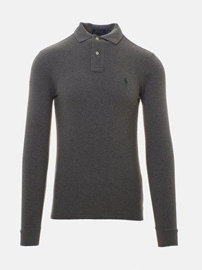 POLO RALPH LAUREN - GREY LONG-SLEEVED SLIM POLO SHIRT