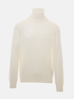 FAY - WHITE TURTLENECK SWEATER