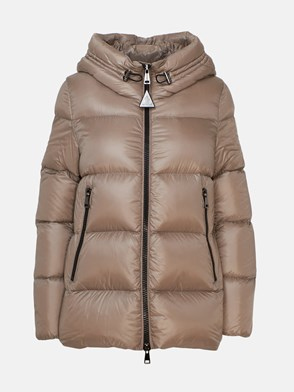 MONCLER - SHORT DOWN JACKET WITH DOVE GREY WRITING
